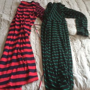 Two striped dresses with ties